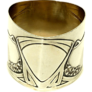 Art Nouveau Jugendstil German Silver Napkin Ring by Jacob Grimminger