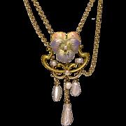 14K Gold Art Nouveau Enamel & Pearl Festoon Pansy Necklace