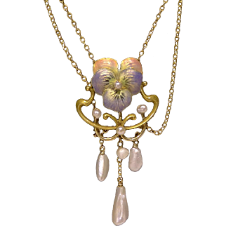 14K Gold Art Nouveau Enamel & Pearl Festoon Pansy Necklace