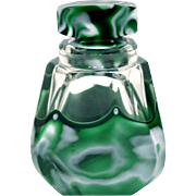 Unusual Czech Art Deco Art Glass Wide Mouthed Boudoir Bottle