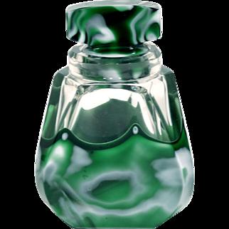 Unusual Czech Art Deco Art Glass Wide Mouthed Boudoir Bottle
