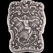 Unger Bros. Sterling Silver Art Nouveau Nude Match Safe Vesta Case