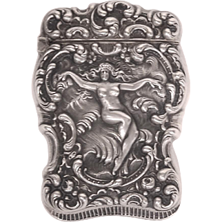 Unger Bros. Sterling Silver Art Nouveau Nude Match Safe Vesta Case