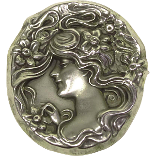 Art Nouveau Sterling Repousse Pin Woman with Flowers
