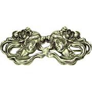 Art Nouveau Sterling Repousse Pin 2 Women