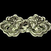 Art Nouveau Sterling Repousse Pin 2 Women
