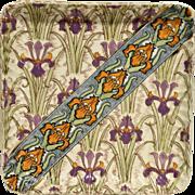 French Art Nouveau Pottery Iris Tray
