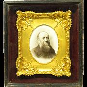 Unusual 19th Century Photo On Porcelain Plaque Bearded Man