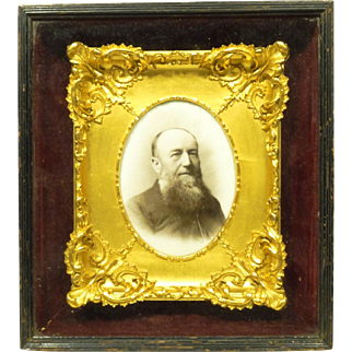 Unusual 19th Century Photo On Porcelain Plaque Bearded Man