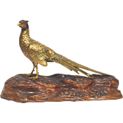 Meiji Period Japanese Bronze Pheasant Figure on Wood Base