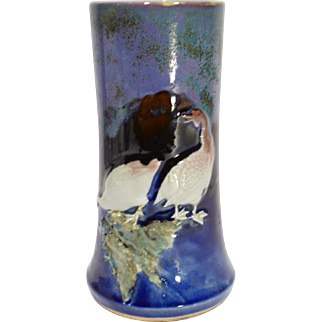 Japanese Flambe' Vase with Applied Geese circa 1910