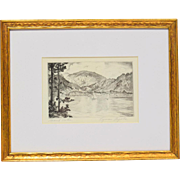 "LYMAN BYXBE Listed Colorado Artist Vintage Etching pencil signed ""Grand Lake"""