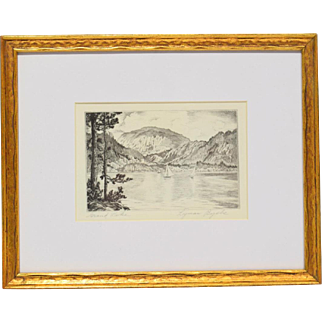 """LYMAN BYXBE Listed Colorado Artist Vintage Etching pencil signed """"Grand Lake"""""""