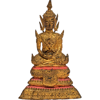 19th Century Thai Gilt Bronze Rattanakosin Style Buddha Statue