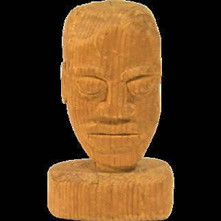 Vintage Folk Art Carving of African American