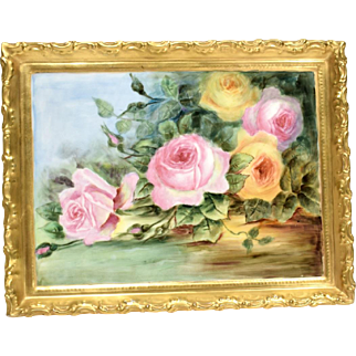 Large Charles Martin Limoges Plaque Pink & Yellow Roses circa 1900