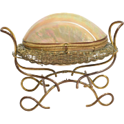 Large Antique French Mother of Pearl Egg Figural Jewelry Casket Box Palais Royale