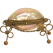 Antique French Mother of Pearl Egg Jewelry Casket Box Palais Royale