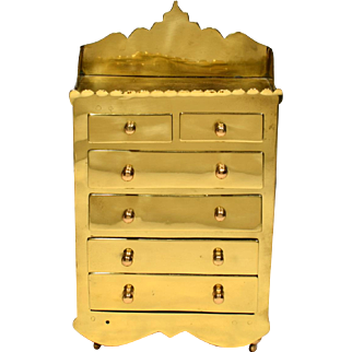 Mid 19th Century Miniature English Brass Chest of Drawers