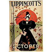 Rare 1895 Lippincott's Art Nouveau Poster by Will Carqueville