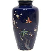 Fine Japanese Cloisonne Cobalt Ground Vase with Silver Rims