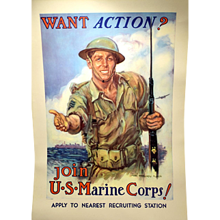 "Rare WWII Marines Recruiting Poster James Montgomery Flagg ""Want Action?"""