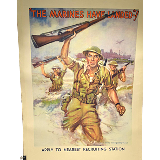 "WWII Recruiting Poster James Montgomery Flagg ""The Marines Have Landed"""