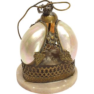 Antique French  Palais Royale Mother of Pearl Table or Servant Bell
