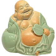 Kutani - ware Celadon Part Glazed Hotei Figure