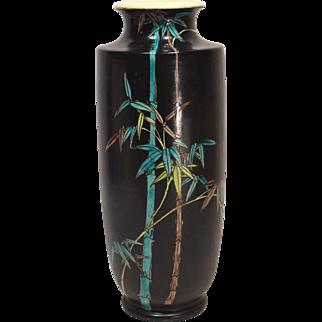 """13"""" Japanese Stoneware Vase Black Ground with Bamboo Decoration"""