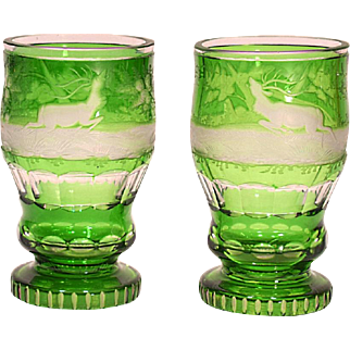 Pair of Antique Bohemian Glass Green Cut To Clear Beer Tumblers