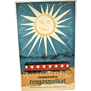 1950s FINLAND Travel Poster by Erik Bruun for Finnish Railways Circle Tour