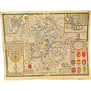 "17th Century John Speed Map ""The County of Warwickshire"""