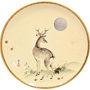 Unusual Antique Satsuma Charger with Deer & Inlaid Silver Moon