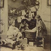 c1880 Little Girls Do Dolls Laundry, Dog, Toys Antique Stereoview Photo