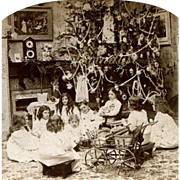 1897 Christmas Morning, Children w  Dolls, Toys Around Decorated Tree, Antique Stereoview Photo