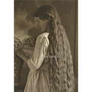 Antique Photo of Young Girl with Very Long Hair