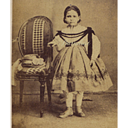 CDV Photo Young Girl in Enfantine Dress Like Huret Doll Wears