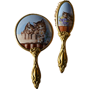 Rare Victorian Kittens Porcelain Childs Mirror & Brush