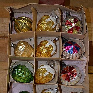 Vintage Glass Christmas Ornaments, Box of 12