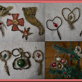 15 Pc. Victorian Tinsel Christmas Ornaments with Scrap & Glass Beads