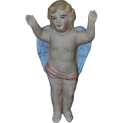"""c.1890-1910 All Bisque 3"""" Flying Angel Christmas Ornament, Feather Tree Size"""