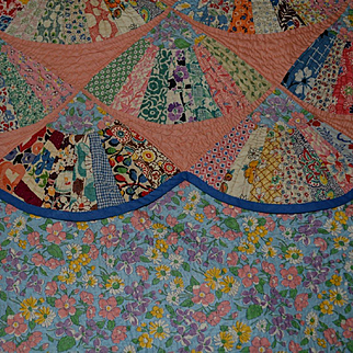 Vintage Fan Quilt, Novelty Feedsack Fabrics, Exc. Cond  102 x 82