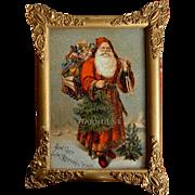 c1880s Framed Santa Claus 5 x 7 Victorian Trade Card