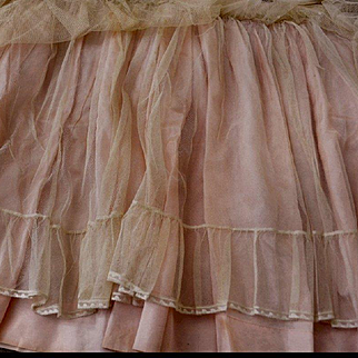 3 Layers Pink Taffeta, Ruffle Net, Embroidered Lace, Antique French Bassinette Skirt for DOLL Clothing