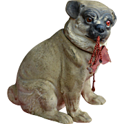 Antique Paper Mache Pug Candy Container