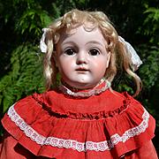 """18-1/2"""" Early Kestner Shoulder Head Doll, Square Cut Teeth, Orig Plaster Pate, Turkey Red Dress"""