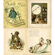 c1890s Nister Children's Book, Full of Fun, Chromo's Cats, Owls, Dogs