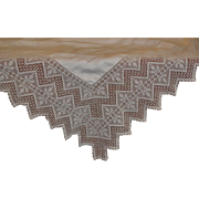 ON HOLD FOR JD  Damask Tablecloth Dripping with 7 inch Deep Pointed Crochet Lace