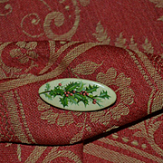 Small Antique Celluloid Button Pin with Holly Berry #2